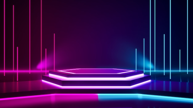 Hexagon stadium en purper neonlicht