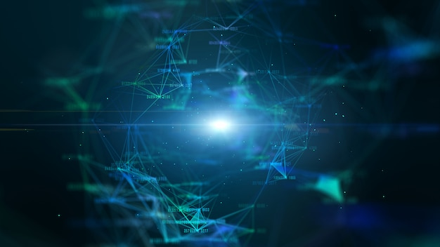 Hi-tech digitaal datanetwerk en netwerkverbinding