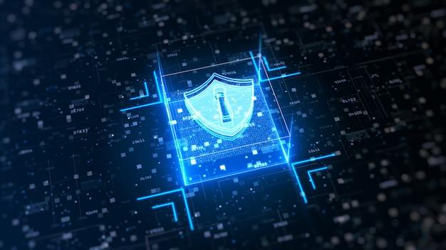 Hi-tech schild van cyberveiligheid. bescherming van digitale datanetwerken