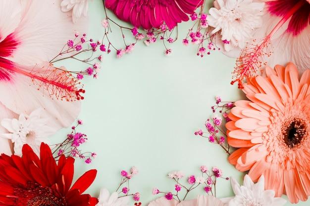 Hibiscus; gerbera en baby's-adem bloemen decoratie met ruimte voor tekst in het midden