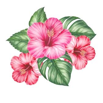 Hibiscusbloemen en palmbladeren.