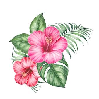 Hibiscusbloemen en palmbladeren