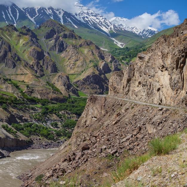 Hieronder is een tumultueuze rivier panj. pamir highway, tadzjikistan. aan de overkant van het grondgebied van afghanistan.