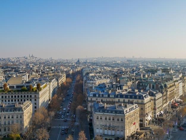 High angle panoramisch uitzicht over de stad parijs