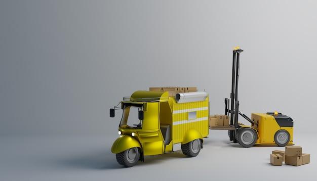 Hijsrobot die werkt om de pakketdoos naar een kleine vrachtwagen te brengen en af te leveren, 3d-illustratieweergave