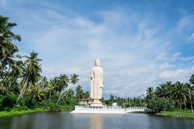 Hikkaduwa, sri lanka, 25 november 2019: boeddhabeeld gebouwd ter nagedachtenis van de slachtoffers van de tsunami van 2004.