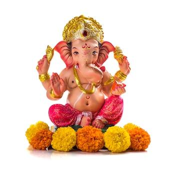 Hindoe god ganesha. ganesha idool op wit.