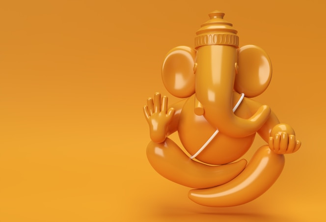 hindoe god ganesha standbeeld-hindoe religie festival concept olifant. 3d geef illustratie terug.