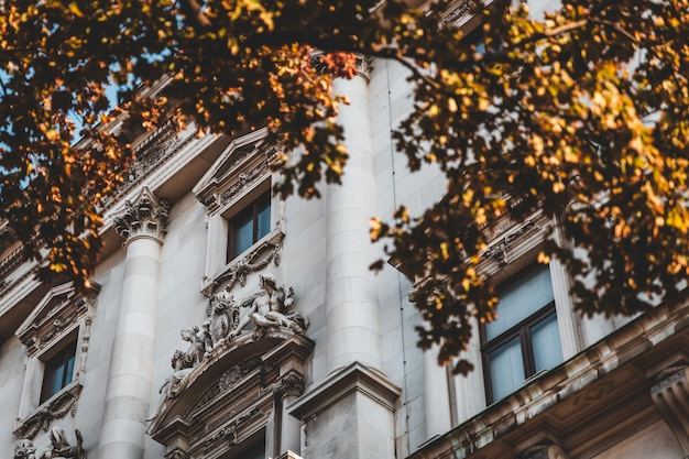 Historisch gebouw gevel en herfst gebladerte in wenen, oostenrijk