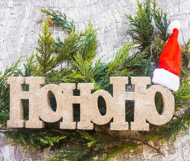 Ho ho ho-titel met kerstmishoed op groene takjes