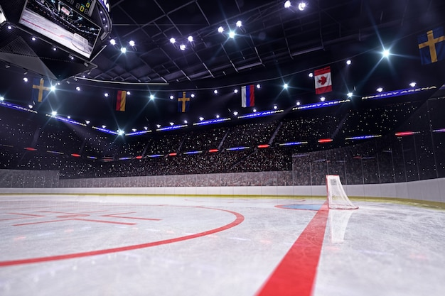 Hockey arena 3d render