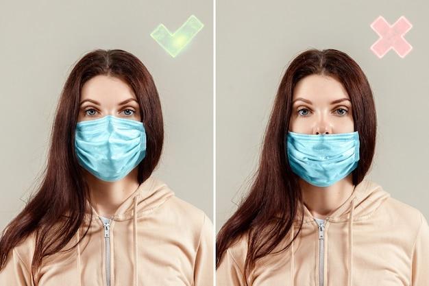 Hoe een chirurgisch masker te dragen voor bescherming, gemaskerd meisje, goed en kwaad.