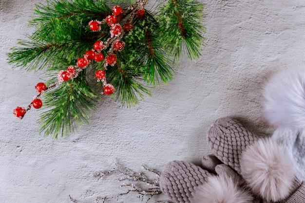 Hoed en wanten op een witte ondergrond met kerstboom tak
