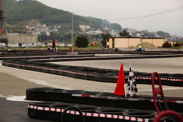 Hoek van de gokart track racebaan voor karten