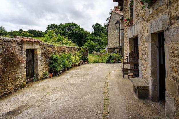 Hoek van een oude stad met stenen huizen en muren met bloemen