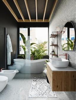 Hoek van hotelbadkamer met grijze betegelde muren, ronde spiegel, wit bad en groot raam. 3d-weergave