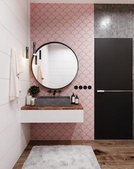 Hoek van hotelbadkamer met roze betegelde wanden, grote spiegel en grijze wastafel. scandinavische stijl. 3d-weergave