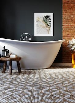 Hoek van hotelbadkamer met zwarte muren en mozaïekvloer. 3d-weergave