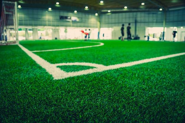 Hoeklijn van een indoor voetbalveld voetbalveld