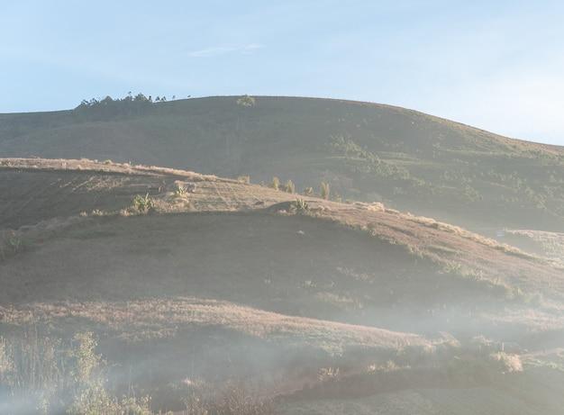 Hoge berg met lichte mist.
