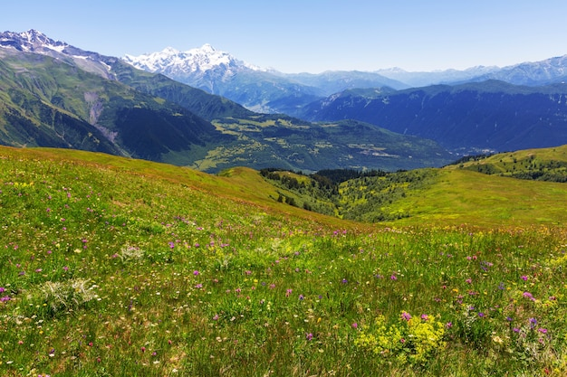 Hoge bergen van de kaukasus. svaneti. georgië.