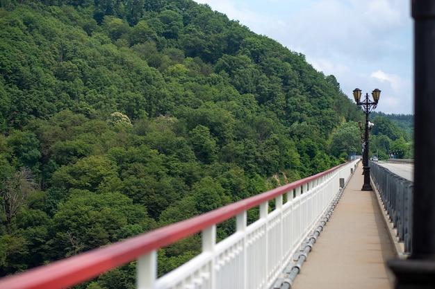 Hoge brug met uitzicht op een prachtig groen bergdal, landschap