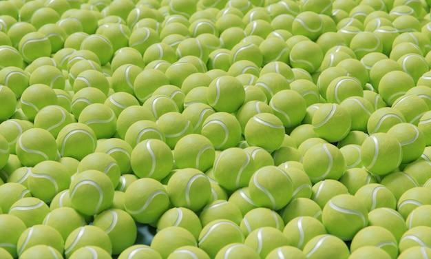 Hoge compositiehoek met tennisballen