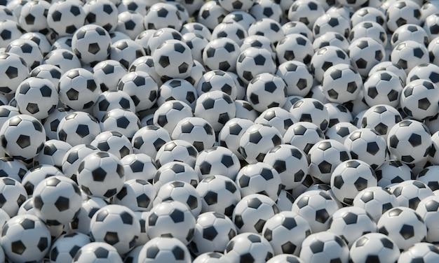 Hoge compositiehoek met voetballen
