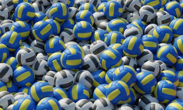 Hoge compositiehoek met volleyballen