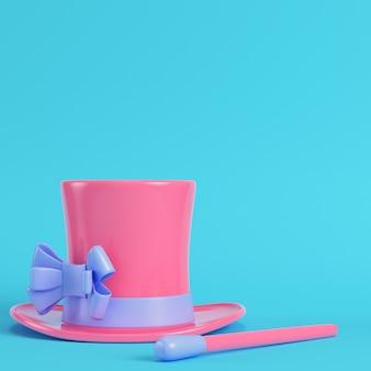 Hoge hoed en toverstaf in pastelkleuren