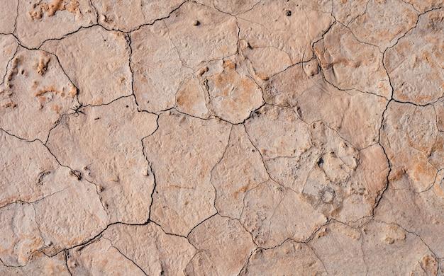 Hoge hoek close-up shot van gebarsten land textuur voor een achtergrond