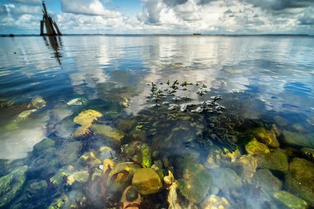 Hoge hoek close-up shot van stenen aan de kust met de zee op de achtergrond
