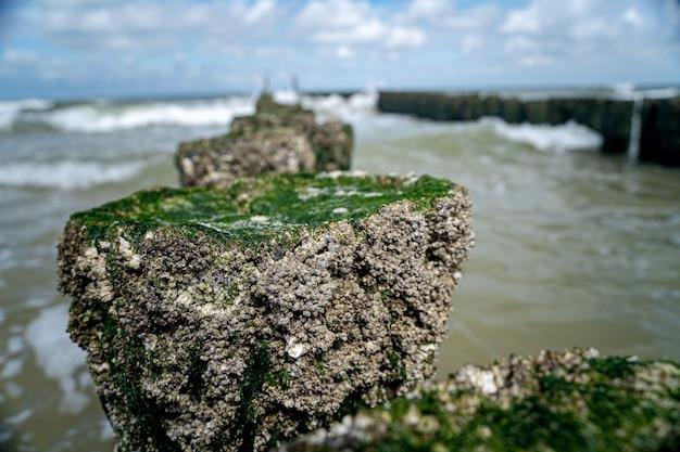 Hoge hoek close-up shot van stenen met mos bovenop die leidt naar de golvende zee