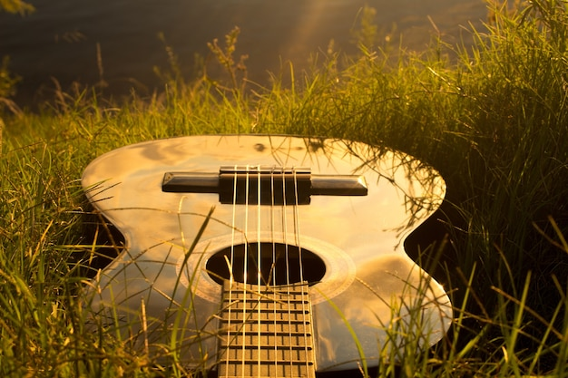 Hoge hoek die van een gitaar op het gras is ontsproten