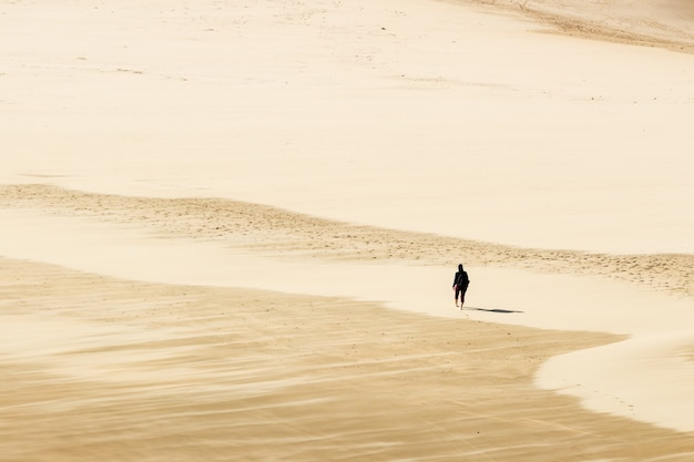 Hoge hoek die van een persoon is ontsproten die op blote voeten op het warme zand van de woestijn loopt