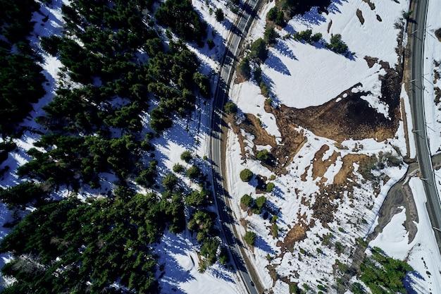 Hoge hoek die van een weg in een mooi net bos in de winter is ontsproten met sneeuw die de grond behandelt