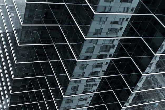 Hoge hoek glazen gebouwontwerp