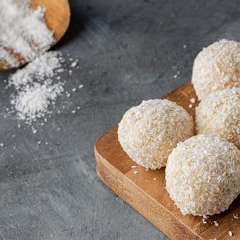 Hoge hoek heerlijke kokosnoot snoep
