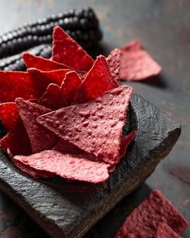 Hoge hoek heerlijke roze chips