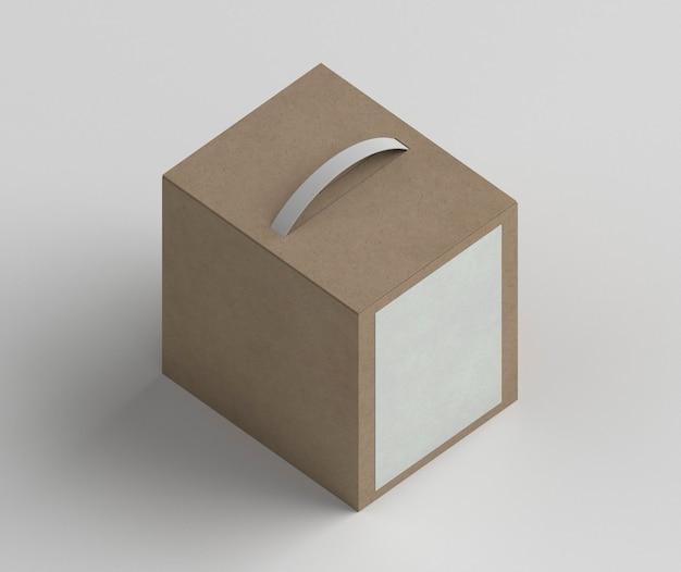 Hoge hoek kartonnen doosopstelling