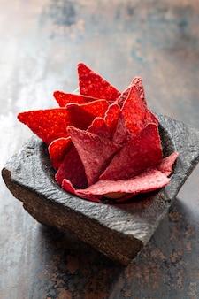 Hoge hoek roze chips