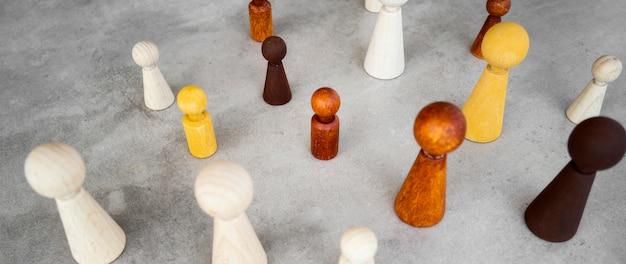 Hoge hoek schaakstukken collectie