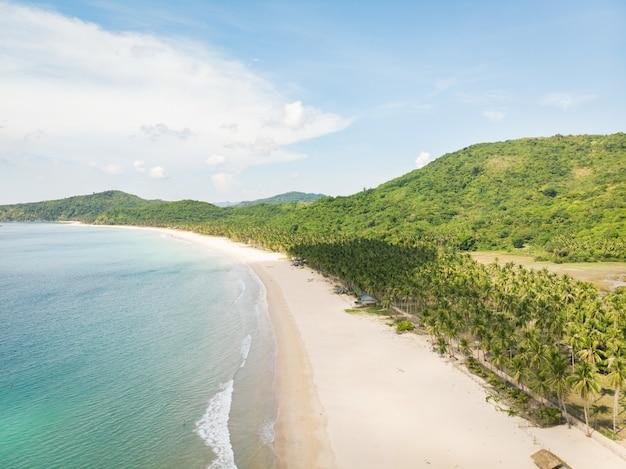 Hoge hoek schot van de kalme oceaan en het met bomen bedekte strand door de prachtige groene heuvels