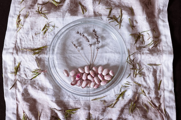 Hoge hoek shot van witte bonen met een sierkruid