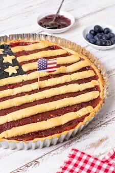 Hoge hoek usa vlag taart