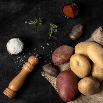 Hoge hoek van aardappelen met zout en specerijen