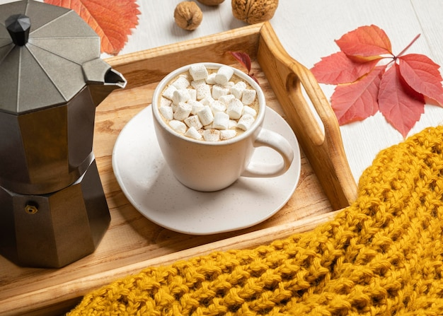 Hoge hoek van dienblad met kop warme chocolademelk en marshmallows met trui
