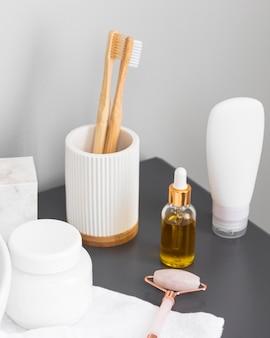 Hoge hoek van eco cosmetica concept
