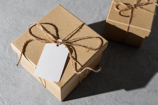 Hoge hoek van epiphany dag geschenkdozen