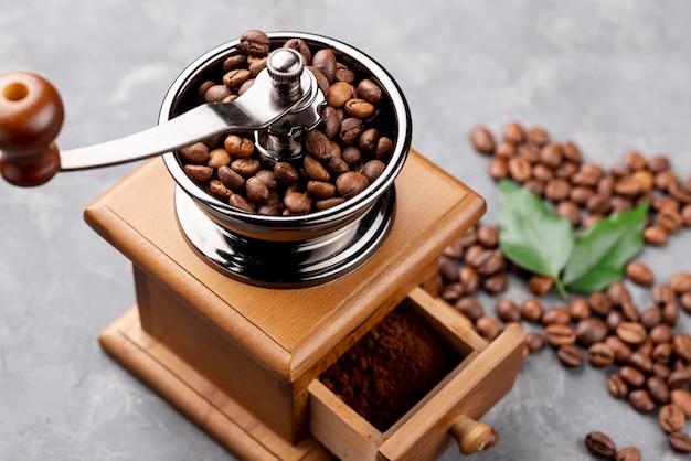 Hoge hoek van koffieconcept